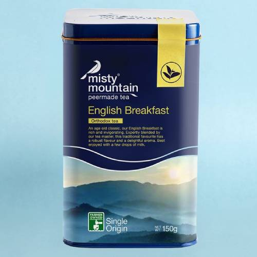 Misty Mountain English Breakfast Orthodox Tea, Rich and Invigorating Loose Leaves Caddy Tin 150g (70 cups)