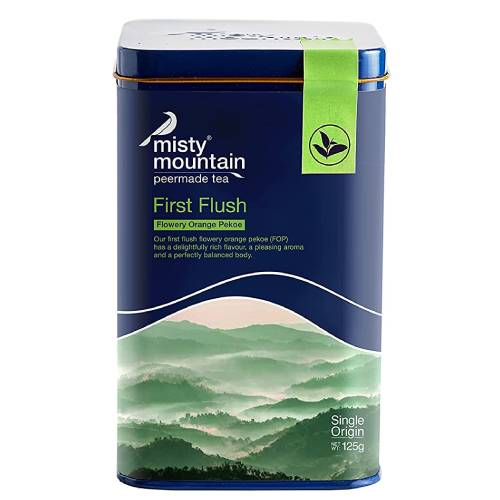 Misty Mountain First Flush Flowery Orange Pekoe Orthodox Tea, Rich and Invigorating Loose Leaves Caddy Tin 125g (60 cups)