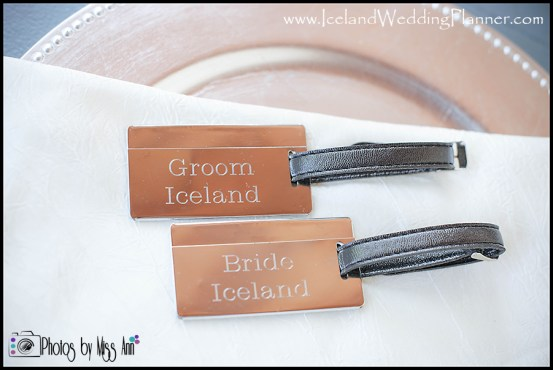 Iceland Wedding Favor Engraved Luggage Tags Ann and Chris Peters Wedding