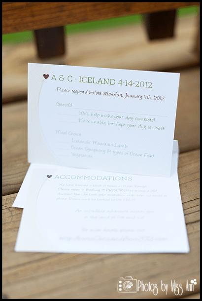 Destination Wedding RSVP Card Example Iceland Wedding Seljalandsfoss