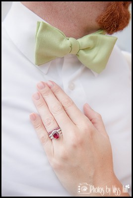 Groom with Lime Green Bowtie Bride with Ruby Engagement Ring Photos by Miss Ann