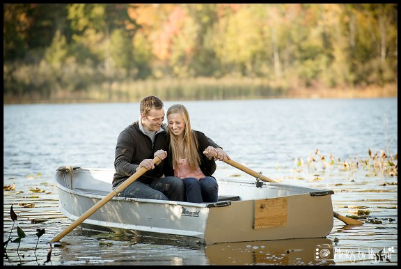 Michigan Row Boat Engagement Session Photos by Miss Ann