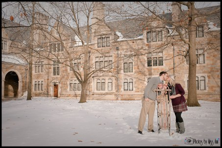 Playful sledding engagement session in Ann Arbor Michigan