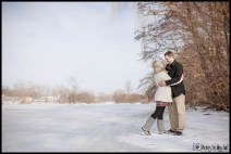 Romantic Snowy Lakeside Engagement Photos