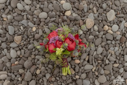 Iceland Bridal Bouquet Red and Purple