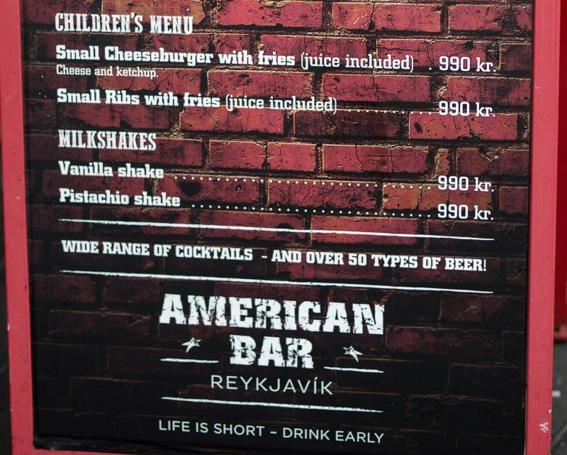kids menu american bar same as dirty burger next door