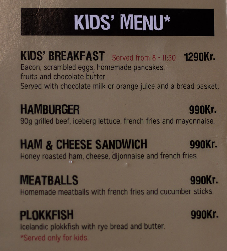 kids menu landromat