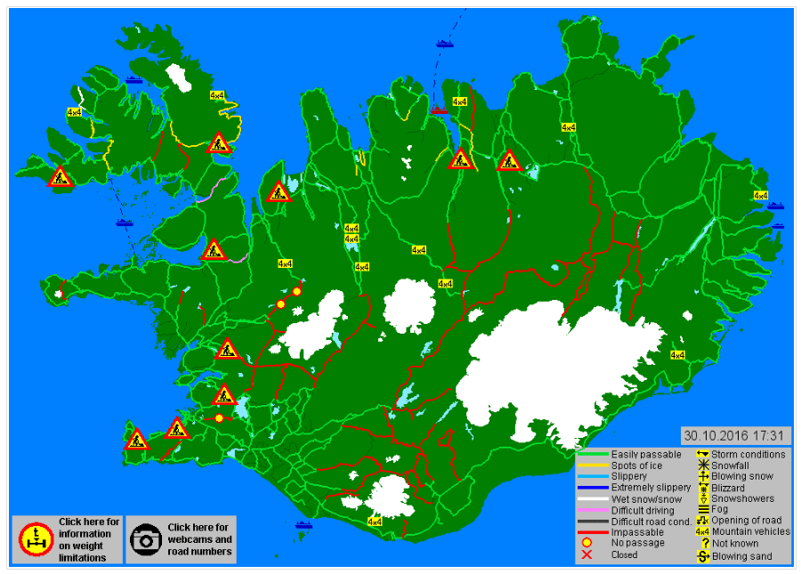 Road conditions in Iceland during different times of year | Iceland ...
