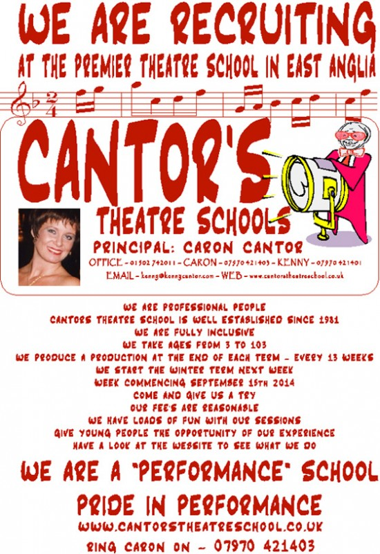 Cantor's Theatre School is Recruiting in Lowestoft and Beccles
