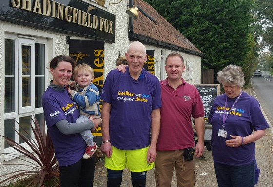 Stroke association: Michaela, Jonty (aged 2.5 and chief cheerleader), John, Clinton and Kate outside the Shadingfield Fox.