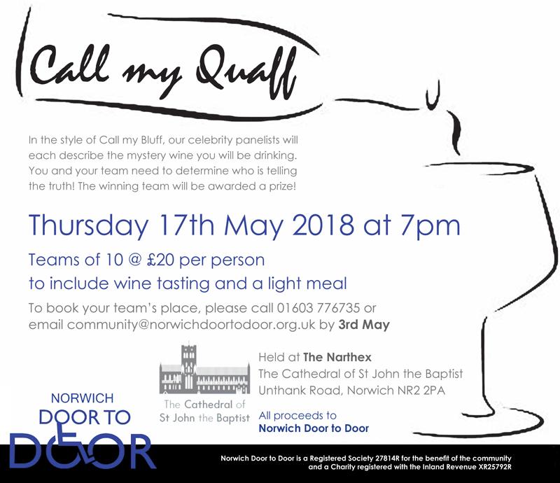 Norwich Door to Door is hosting a wine tasting Call my Quaff