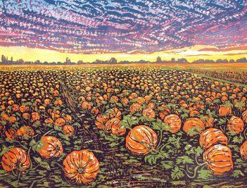 Louise Stebbing Pumpkin Fields Linocut