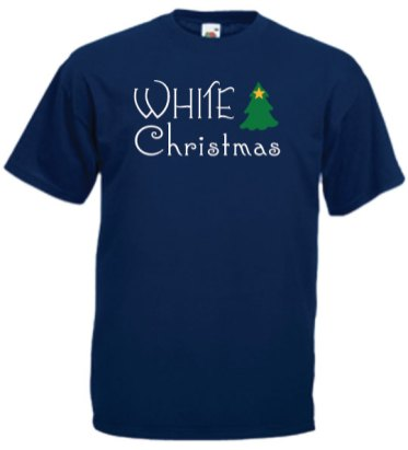White-Christmas-on-Blue-T-shirt