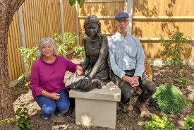 Brian Alabaster has given the piece – called Charlotte – to the Pear Tree Fund, with the charity installing it as the centrepiece of Richard's Garden, at the centre next to Cutlers Hill Surgery in Halesworth.
