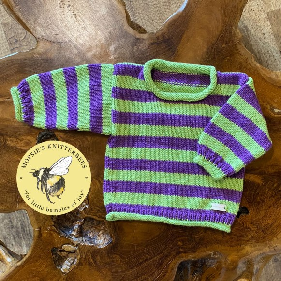 Meadow Mischief Handmade Knitted Baby Jumper from Mopsie's Knitterbees