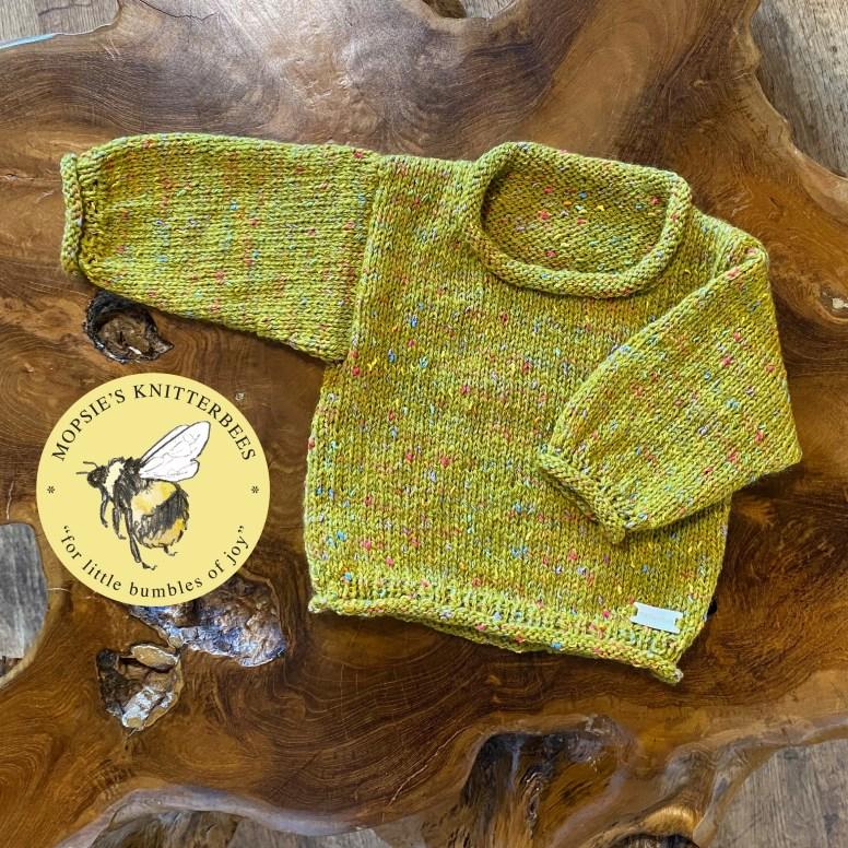 Raindrops on Moss Handmade Knitted Baby Jumper