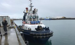 Foreign tug in difficulties