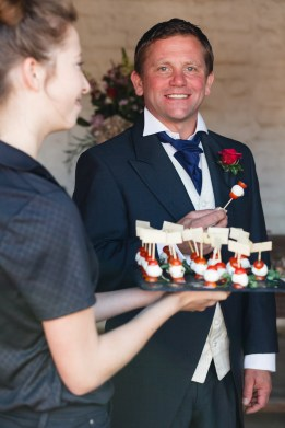 Lavender Dining canapes and Groom