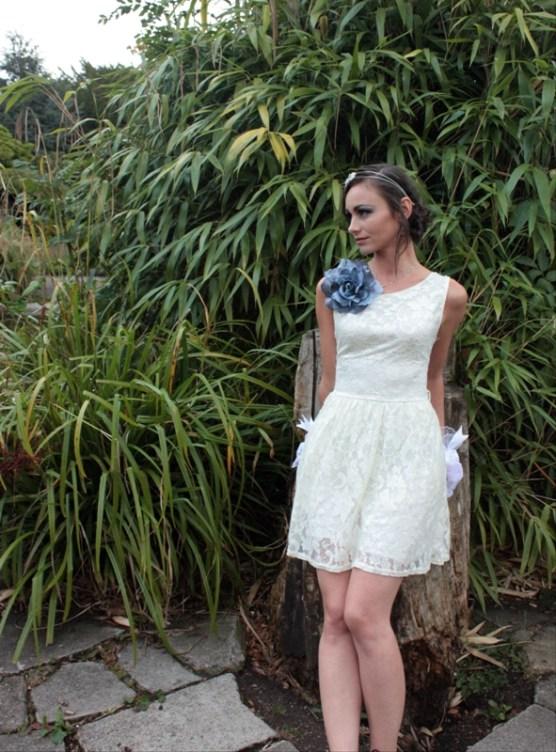 Short Wedding Dress Grey Corsage Black Pearl Weddings