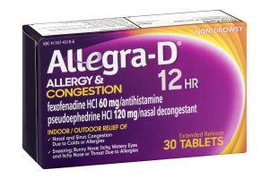 Allegra-D 12HR Allergy & Congestion Tablets - 30 CT ...