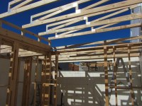 Main house trusses & roof begins