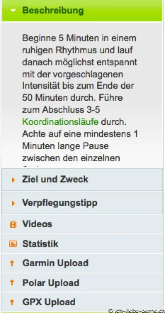 Runningcoach.ch Tabelle