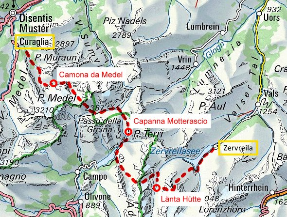 Routenplan Greina Alta