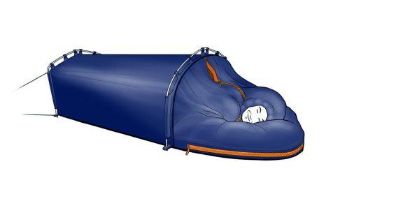 Polarmond® ALL-IN-ONE Schlafhülle: Das Herzstück des Systems – verwendbar unter freiem Himmel. Isomatte und Inlett können auch separat genutzt werden.