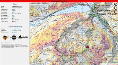 Beispiel Pazolastock bei Gefahrenstufe erheblich. Besonders gefährliche Routenabschnitte sind rot markiert, was ein hohes Risiko bedeutet.