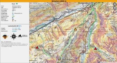 Beispiel Winterhorn bei erheblicher Lawinengefahr. Die orange Markierung weist auf kritische Abschnitte mit erhöhtem Risiko hin.
