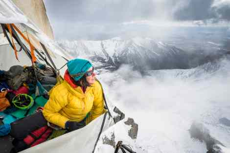 Ines Papert resting in the portaledge 600m above ground on the route Riders on the storm in Torres del Paine