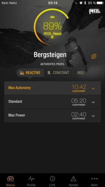 iOS App Statusanzeige der Akkulaufzeit nach 30 Minuten Betrieb