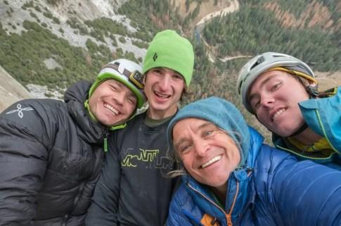 Adam Ondra on his Dawn Wall Push. da Boys. l-r Pavel, Adam, Heinz and Christian