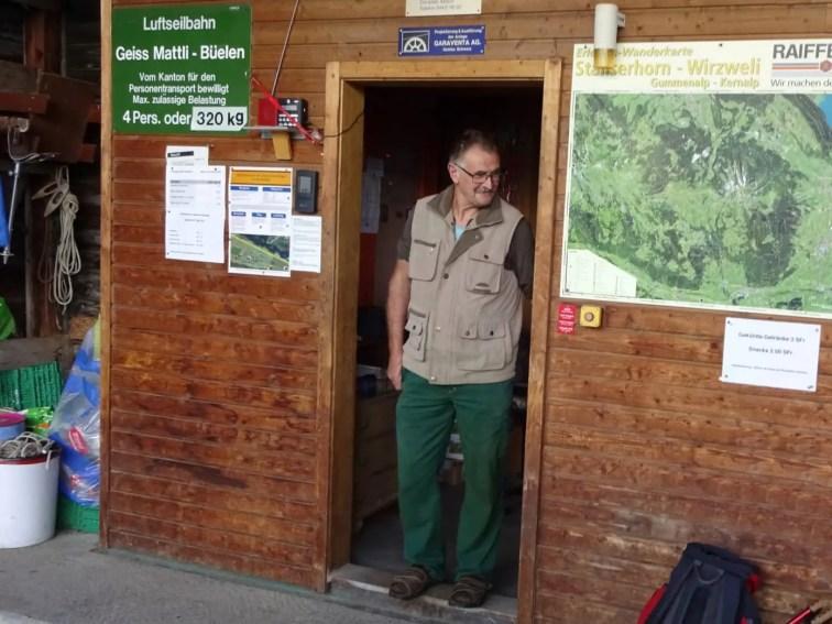 Bahnwart Sepp Mathis (Seilbahn Geissmattli – Bielen)