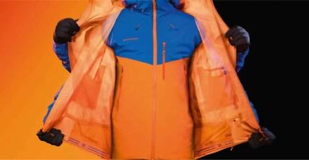 Oranges Jacken- und Hoseninnenfutter sorgt für beste Sichtbarkeit, wenn es nach aussen gewendet wird
