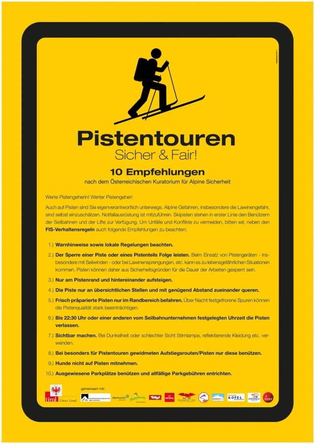 Immer öfter verschlägt es Tourengeher auch auf die Skipisten. Die 10 Verhaltensregeln für Pistengeher, erarbeitet vom Alpenverein und dem Kuratorium für Alpine Sicherheit, sollen zu einem konfliktfreien Miteinander in den Skigebieten beitragen. (Bild: Alpenverein)