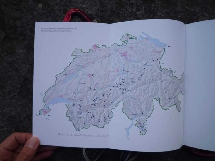 Schweizerkarte mit allen Steigen
