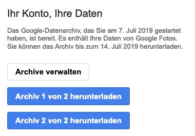 Screenshot der Email mit zwei Downloadlinks: Archiv 1 und Archiv 2.