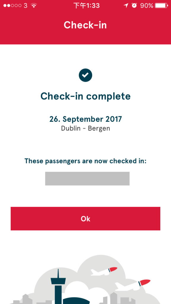 最後完成Check-in畫面