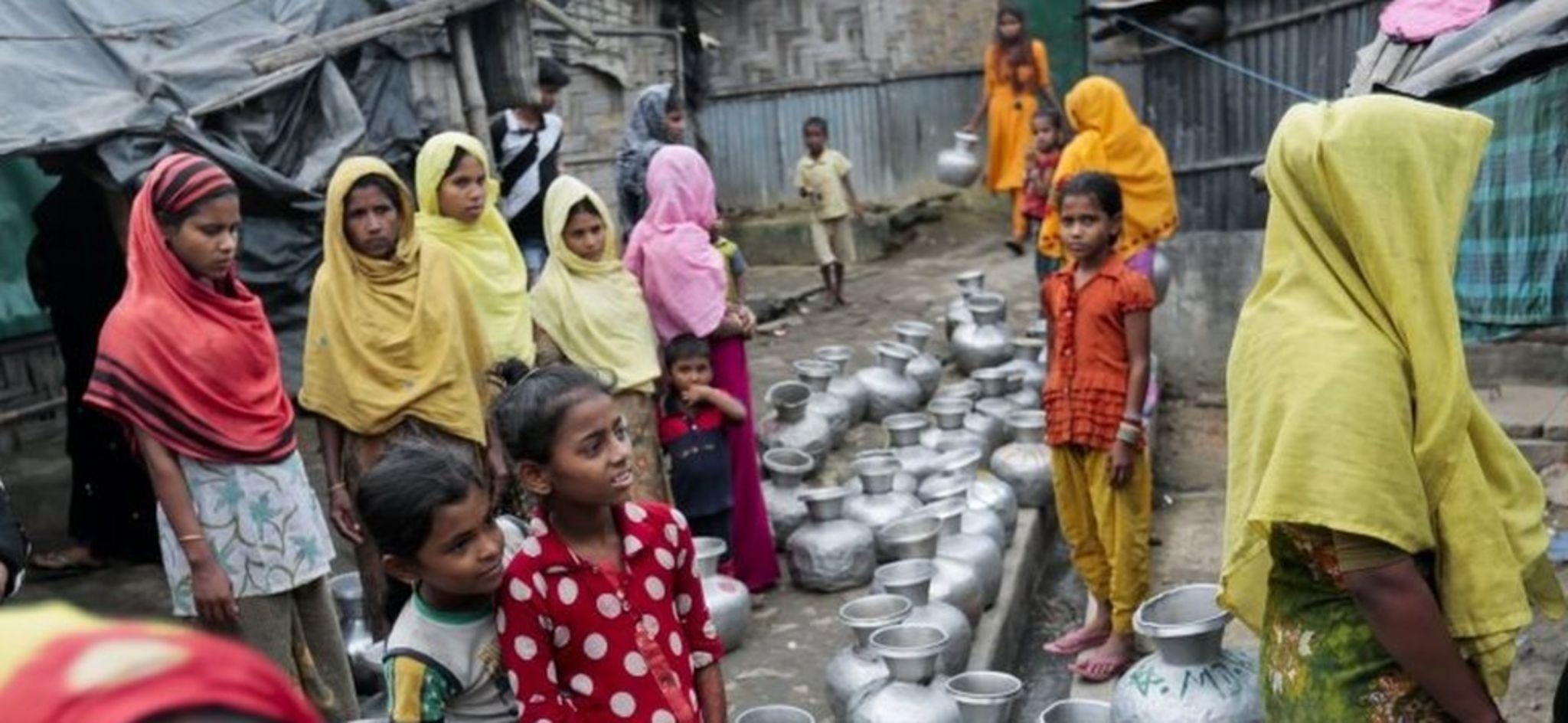 Rohingya women at a camp in Bangladesh