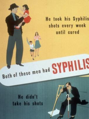 Antiguo anuncio contra la sífilis