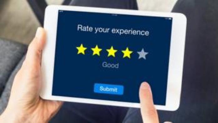 Five star review on tablet device