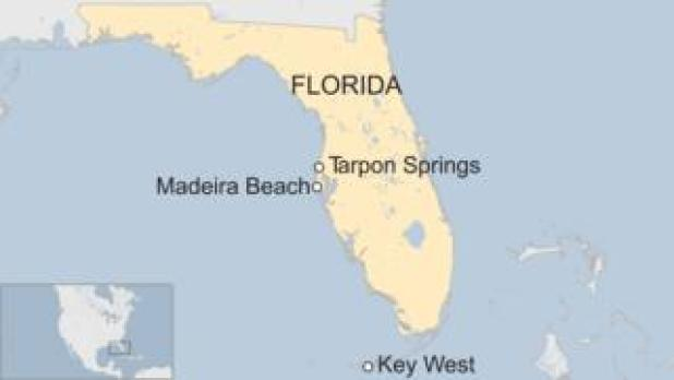 Map of Florida showing Tarpon Springs, Madeira Beach and Key West