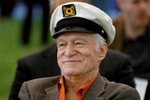 Playboy Magazine founder Hugh Hefner pictured at the Playboy Mansion in Los Angeles, California on February 10, 2011