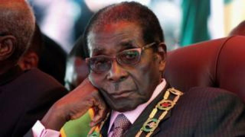 "Robert Mugabe looks on during a rally marking Zimbabwe""s 32nd independence anniversary celebrations in Harare, Zimbabwe April 18, 2012."