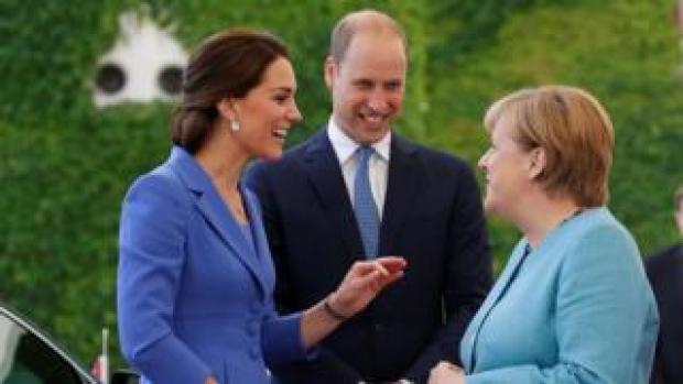 The Duke and Duchess of Cambridge meet German Chancellor Angela Merkel
