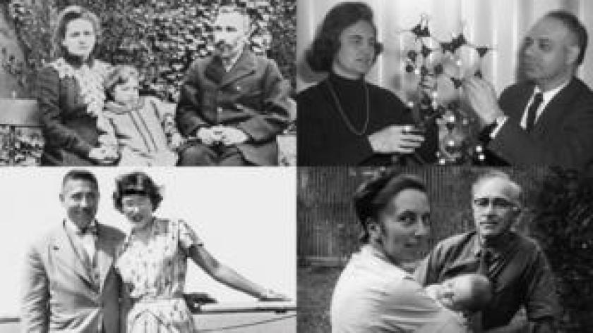 Arriba de izquierda a derecha: Marie y Pierre Curie con una de sus hijas (Getty Images) e Isabella y Jerome Karle (Cortesía: US Naval Research Laboratory). Abajo de izquierda a derecha: Alfred y Helen Free (Cortesía: Helen Free) y Ruth y George Wald (Cortesía: familia Wald)