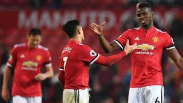 Manchester United's Chilean striker Alexis Sanchez (L) shakes hands with Manchester United's French midfielder Paul Pogba (R) at the end of the English Premier League football match between Manchester United and Huddersfield Town