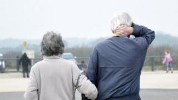 Two pensioners walking in West Sussex