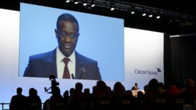 Credit Suisse CEO Tidjane Thiam delivers a speech during an extraordinary shareholders meeting of the Swiss banking group on November 19, 2015 in Bern
